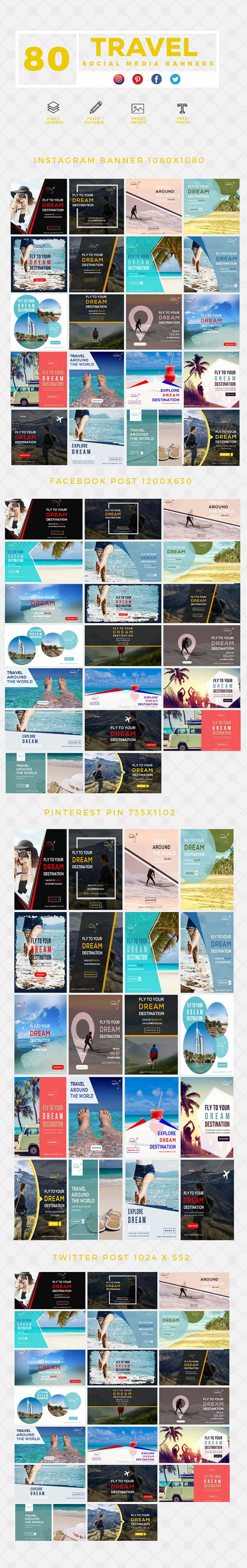 640 Templates for Facebook, Instagram, Twitter, Pinterest - $15 - PREVIEW TRAVEL min