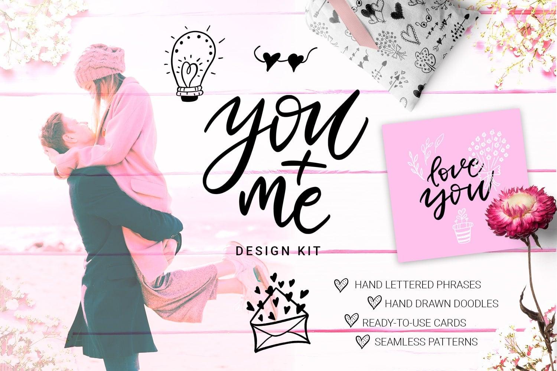 You + Me: Handdrawn Design Kit - $12 - Presentation1cover min