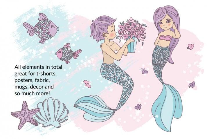 Little Mermaid Clipart: Mermaid Tail Clipart Vector Illustrations - $8 - a2a7045222169a725d7e3096f433f0e15891f158