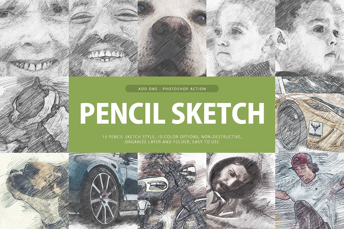 Photoshop Actions: Real Photo FX Bundle - cover pencil sketch