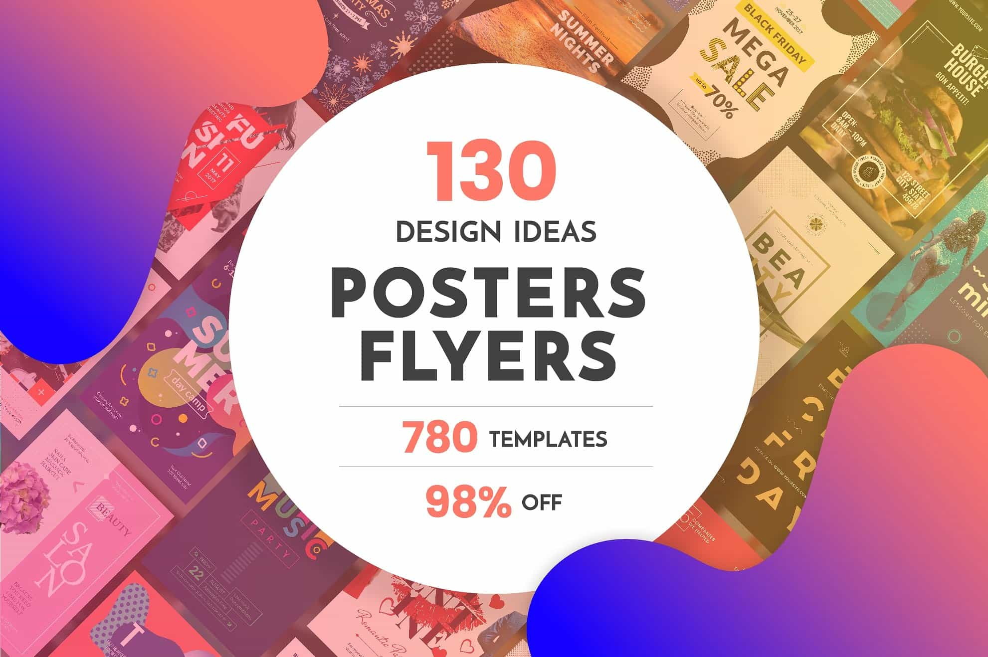 130  Flyer & Posters Bundle - $34 - flyers posters design templates bundle cover 1 min