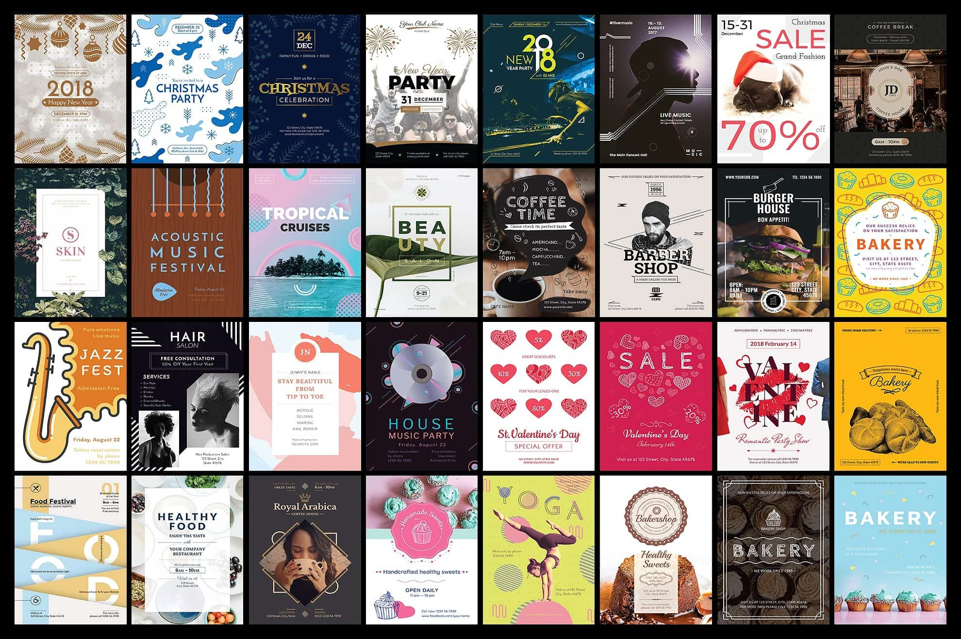 130  Flyer & Posters Bundle - $34 - flyers posters design templates bundle cover 5 min