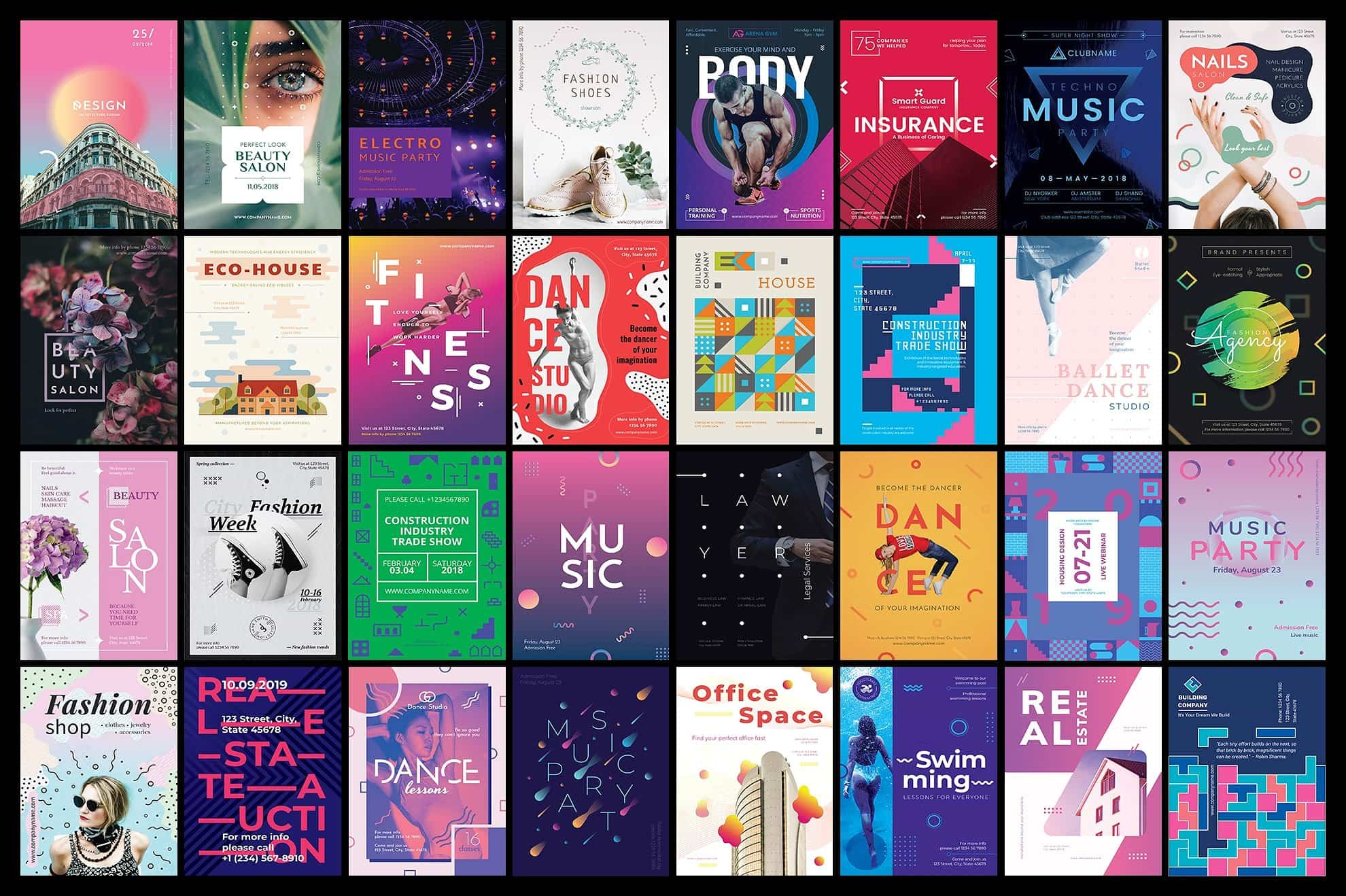 130  Flyer & Posters Bundle - $34 - flyers posters design templates bundle cover 6 min