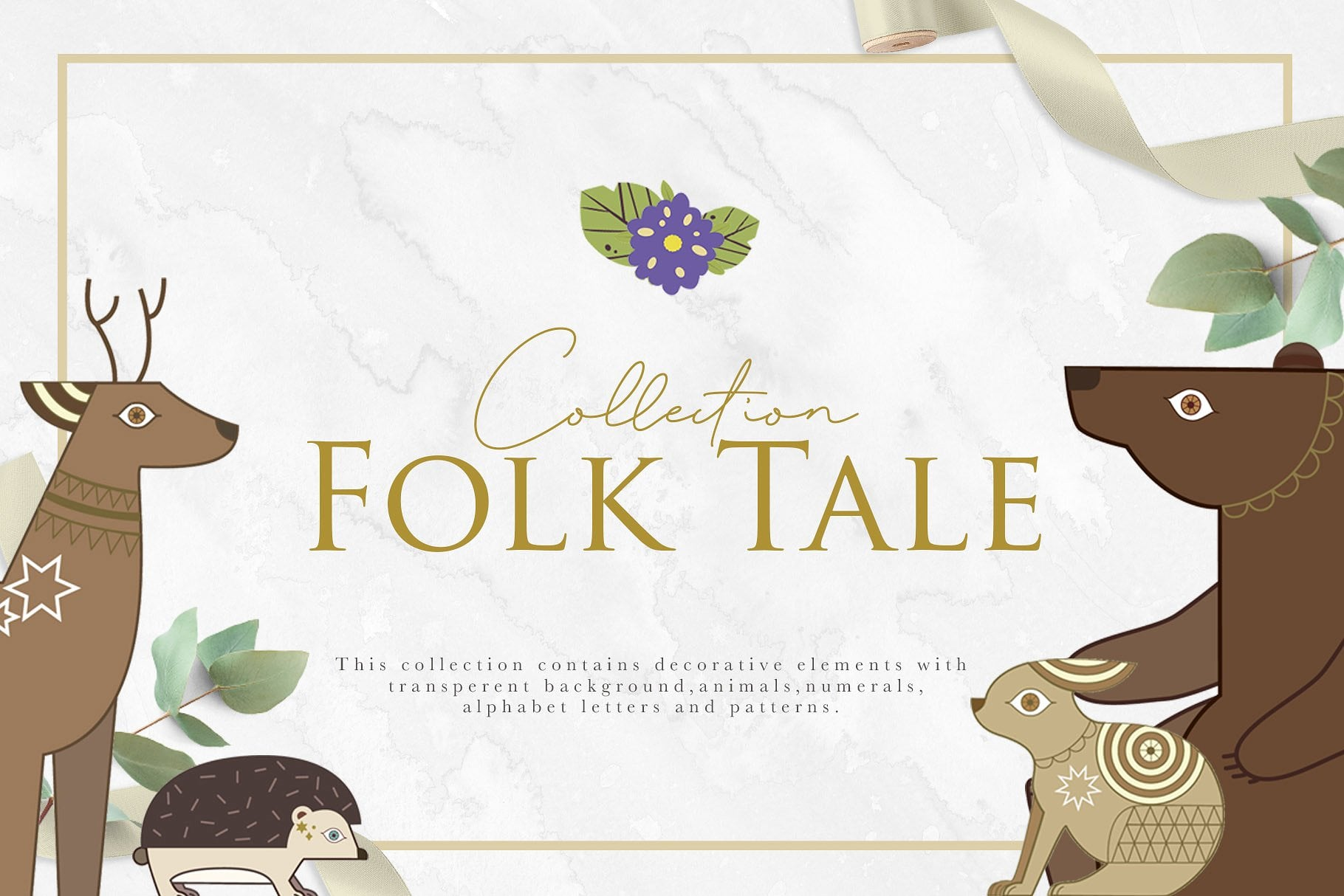 Folk Tale: a Set of Animals Illustrations and Decorative Elements - main prev