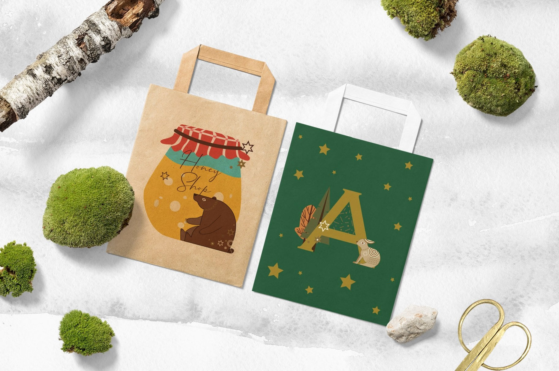 These illustrations look beautiful on eco bags and other surfaces.