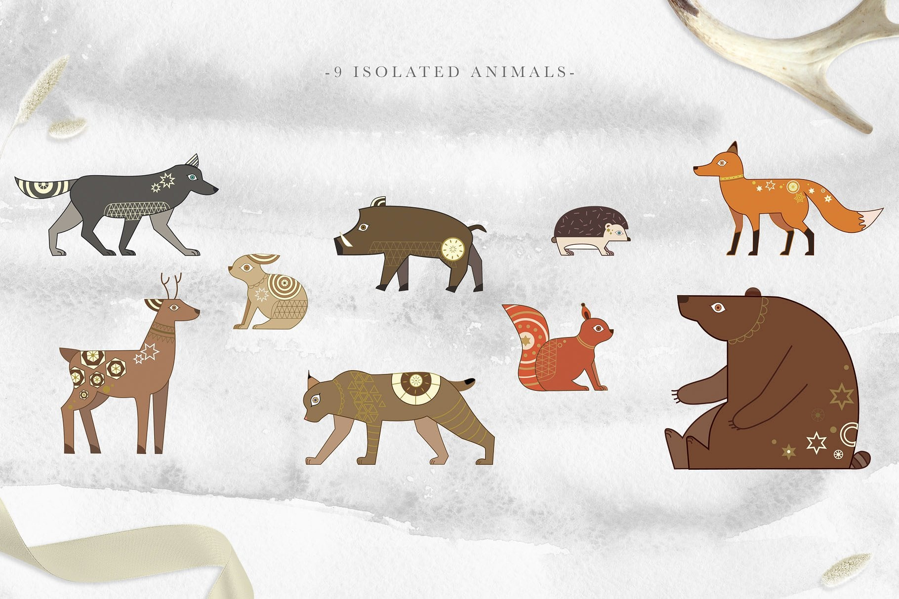 Very beautiful wild animals, each with a distinctive ornament.