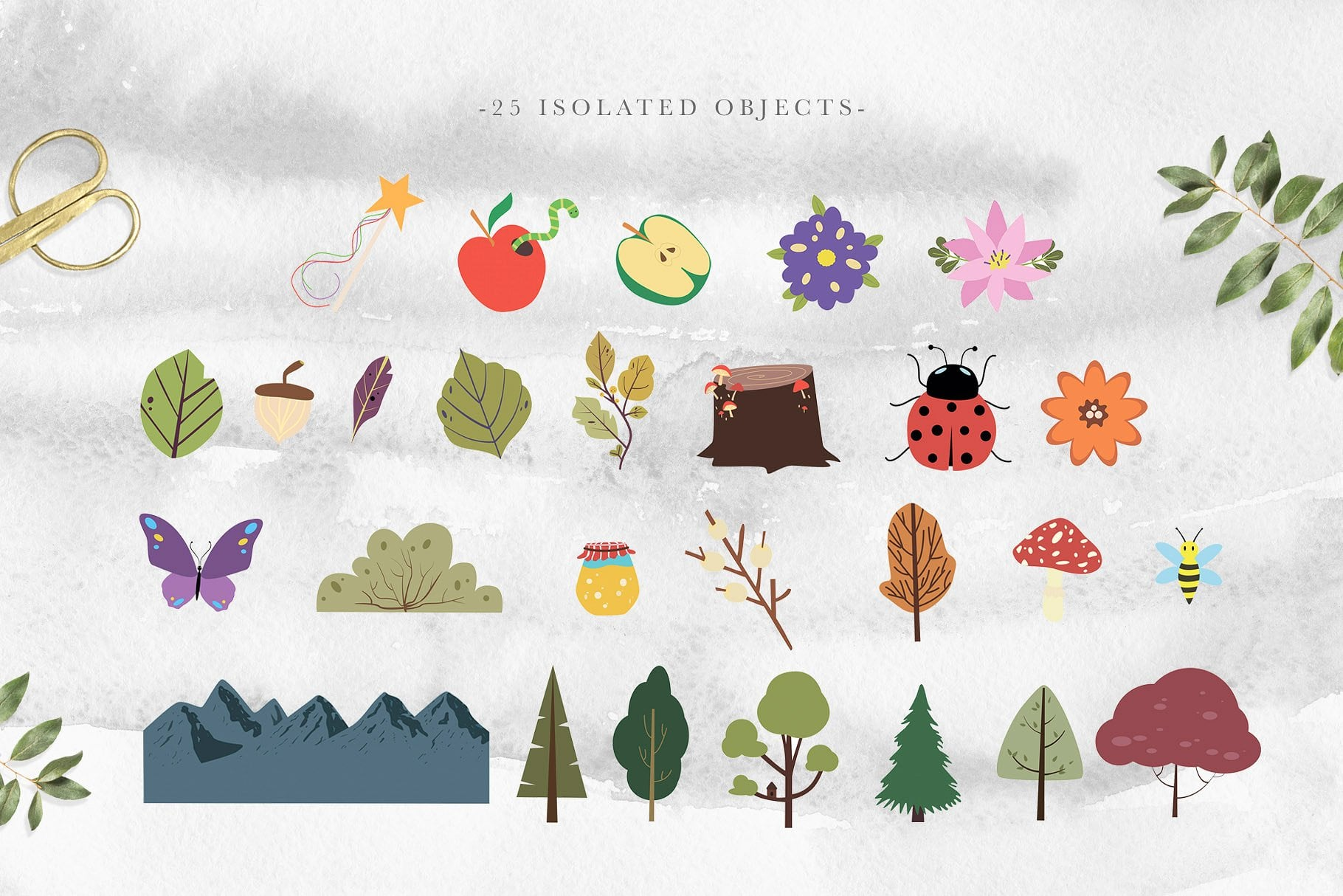 This collection also includes individual elements with mountains, trees and fruits.