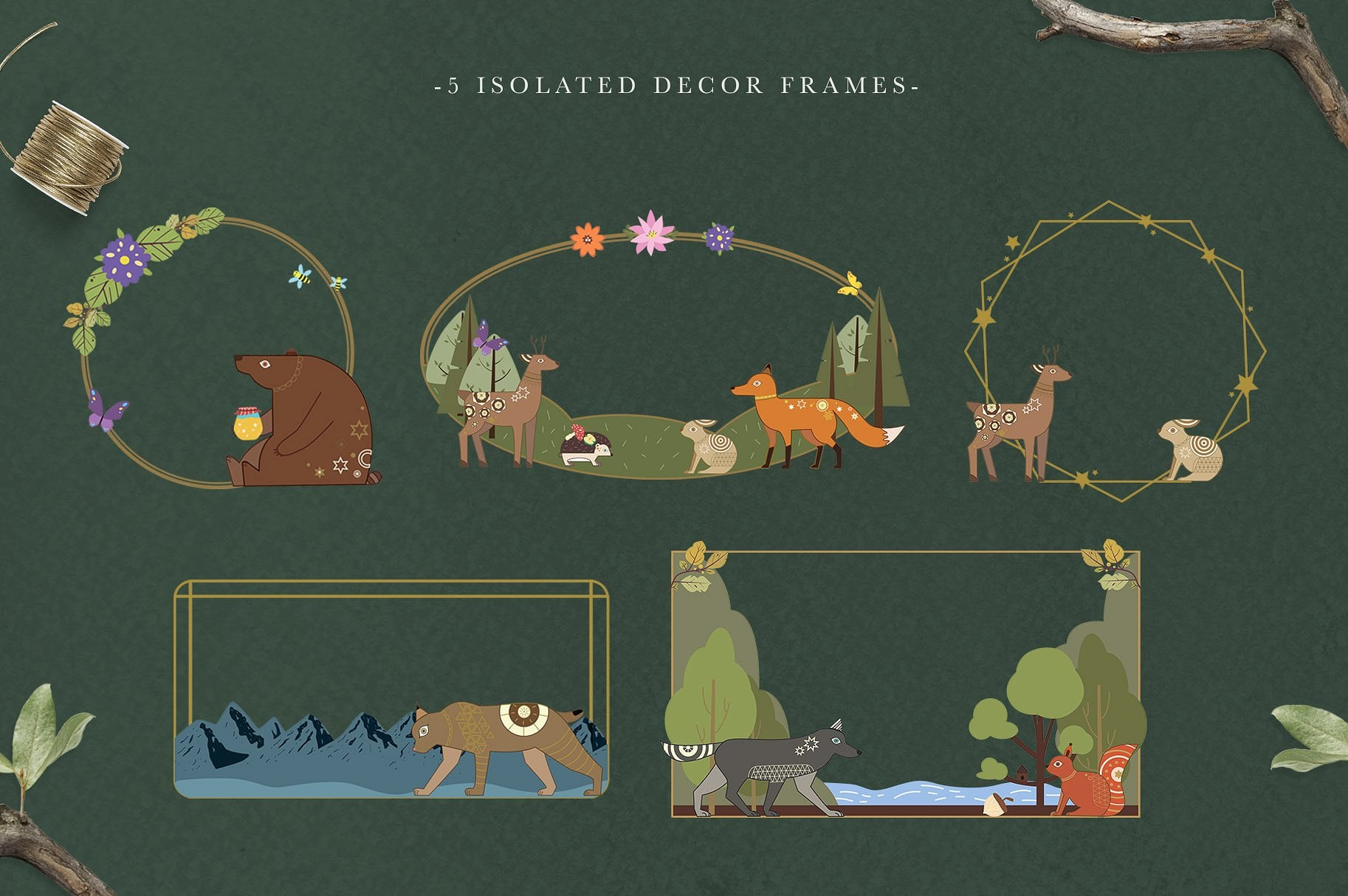 Noble green with thin frames in gold and animals.