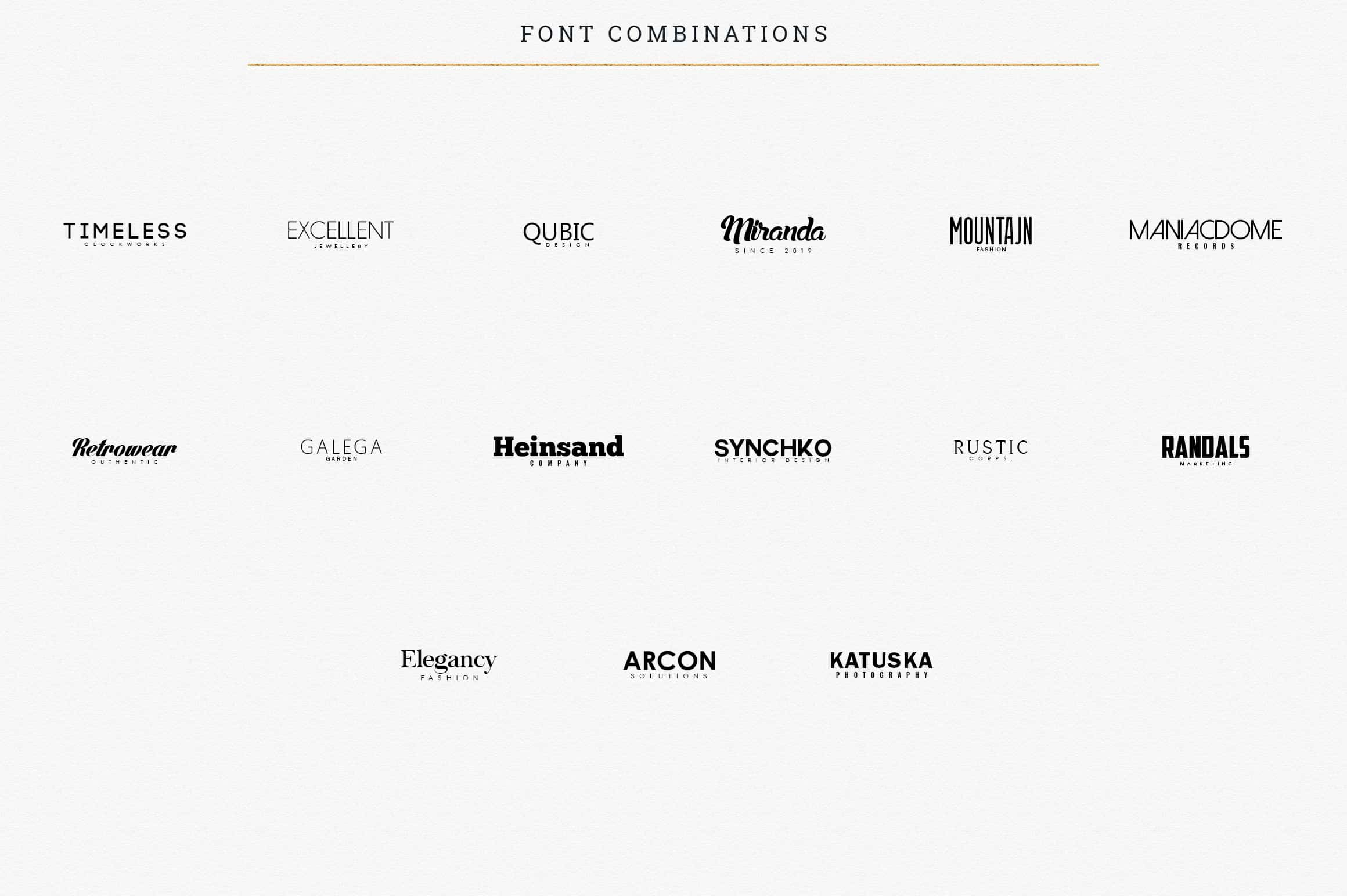 Font options and their combinations with each other.