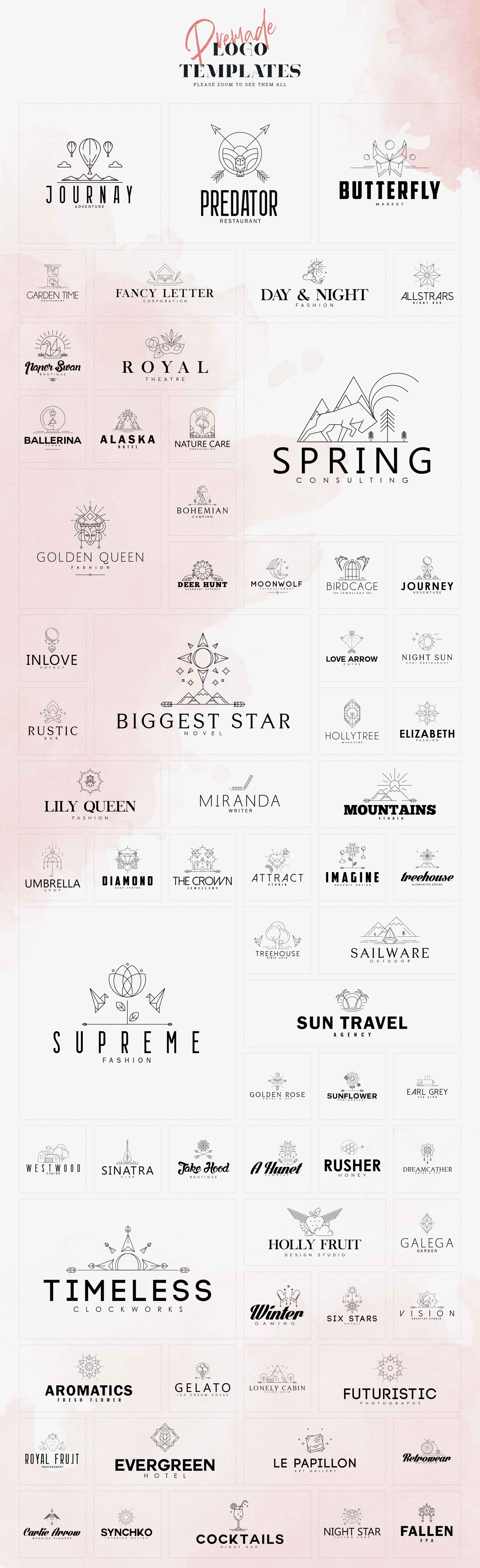This collection has adorable logo variations that reflect the idea behind the template.