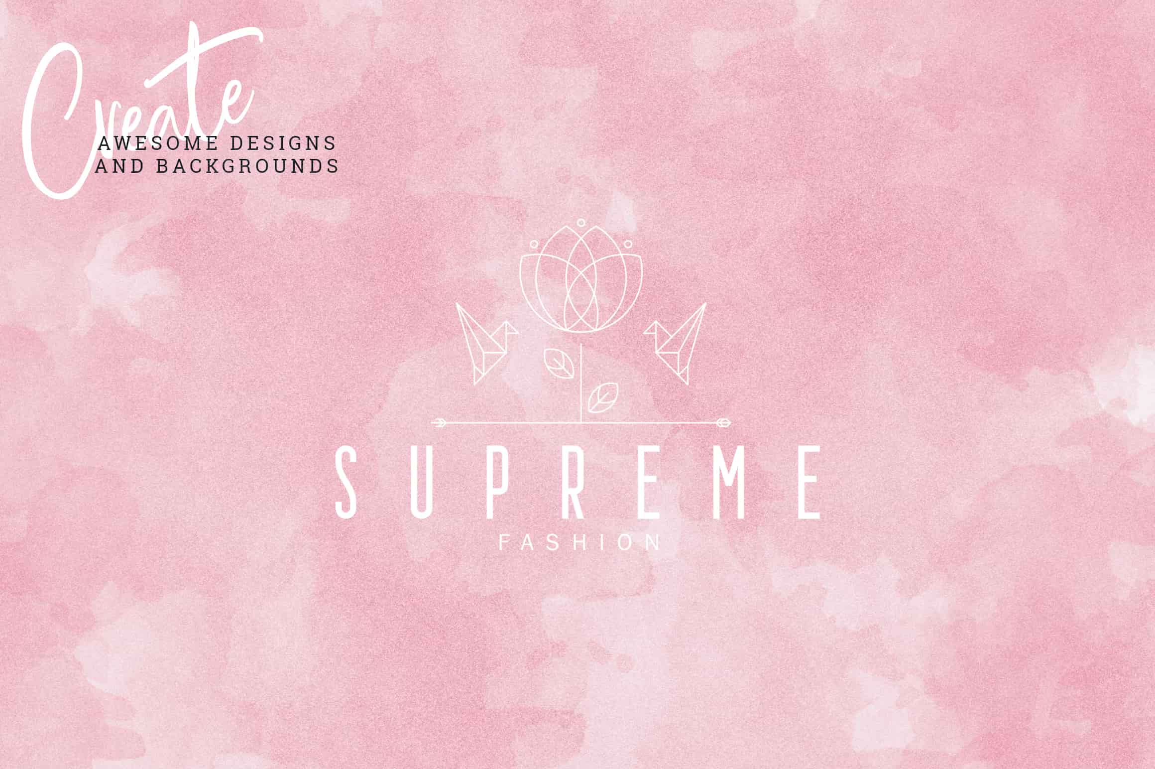 Watercolor matte pink background with a subtle and delicate logo.