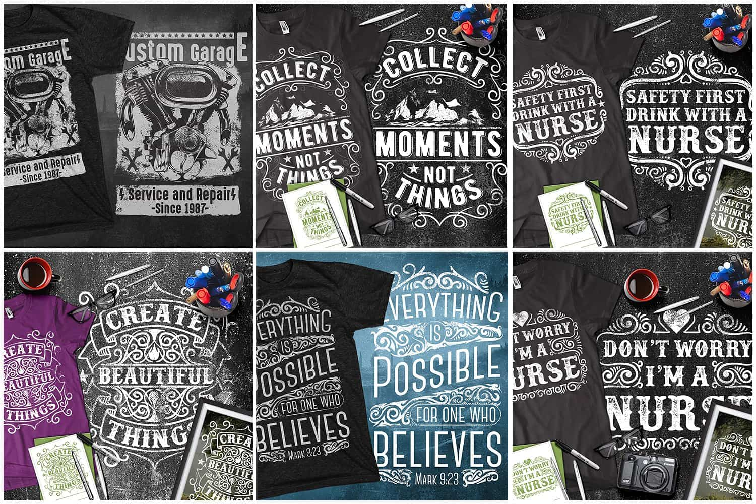 Many beautiful t-shirts with funny letterings.