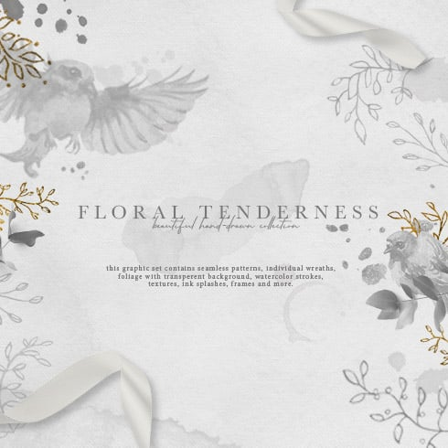 Floral Tenderness: hand-drawn floral elements - $14 - 490x490 1