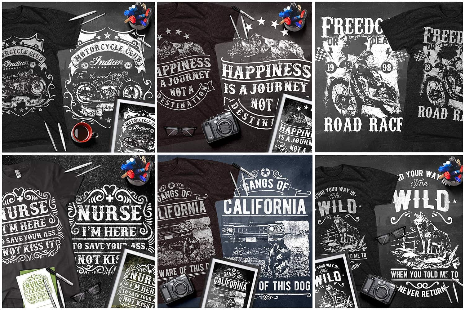 Black t-shirts with motorcycle pictures.