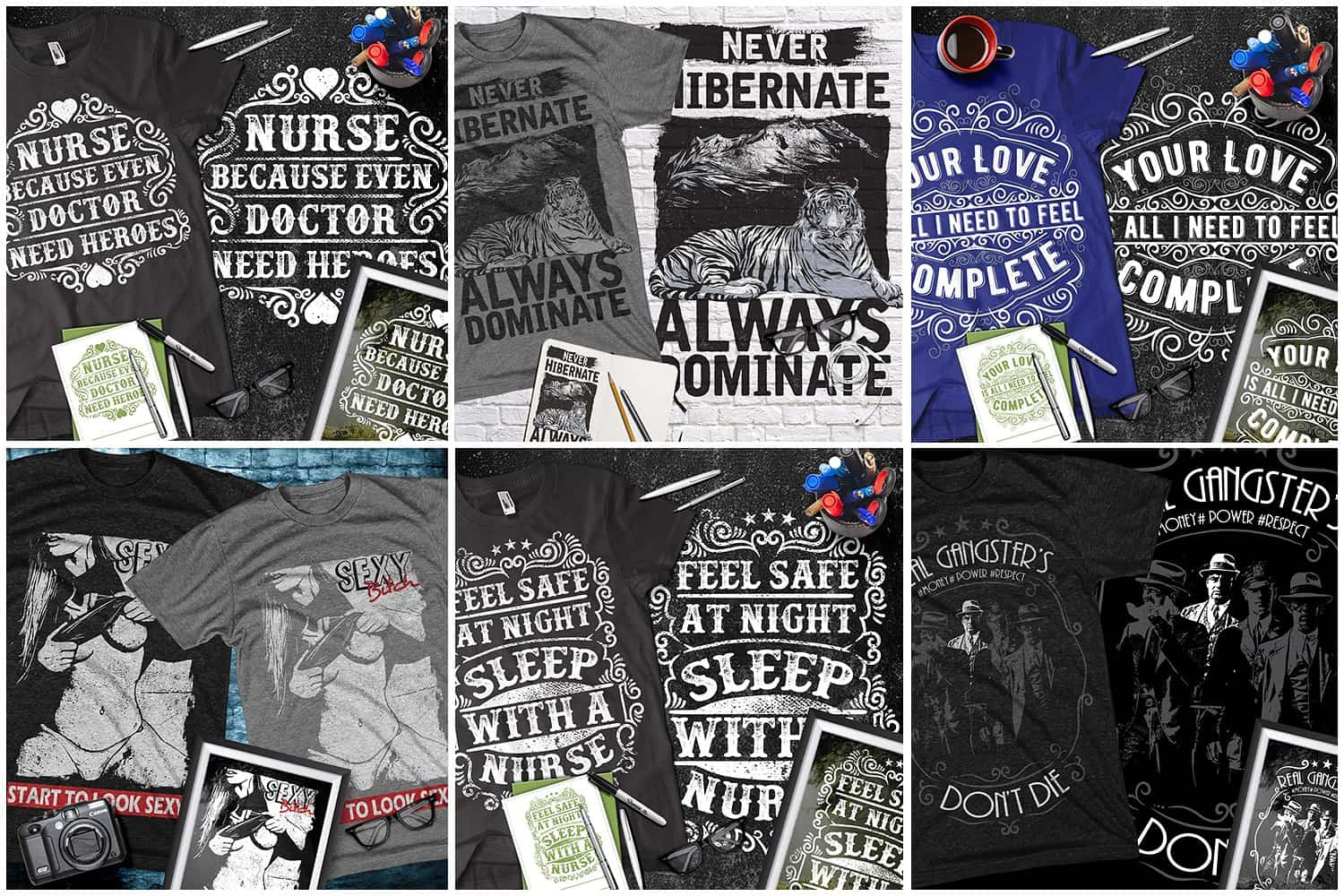Black and grey t-shirts with different pictures and phrases.