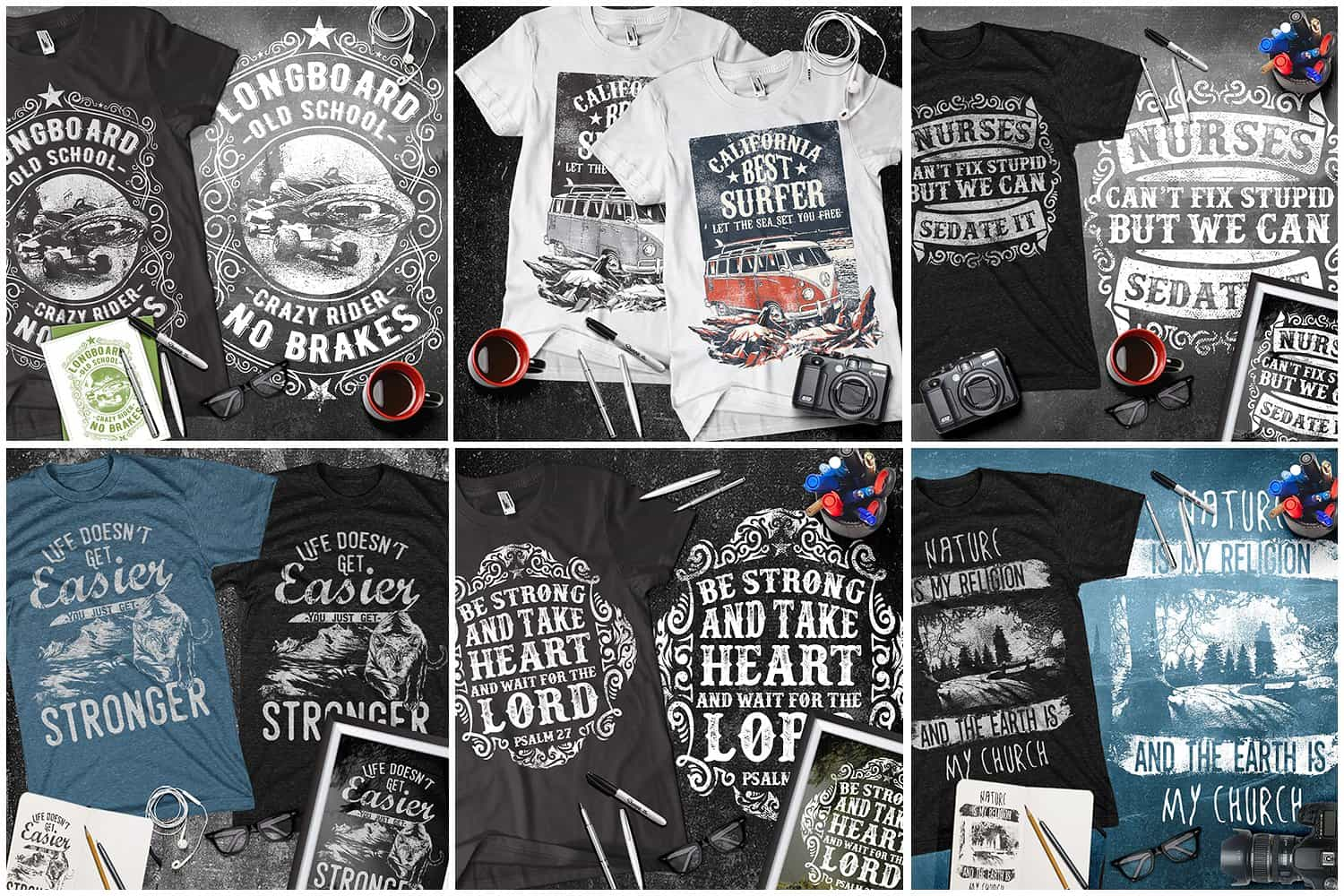 Black and white t-shirts with nature and other themed pictures.