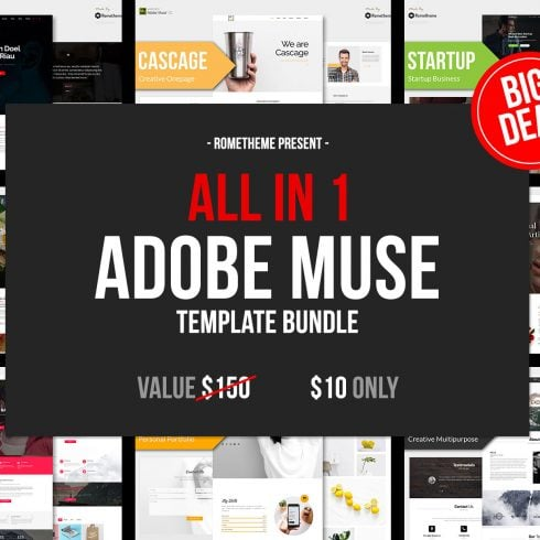 10 in 1 - Adobe Muse Template Bundle - Only $10 - 600 11 490x490