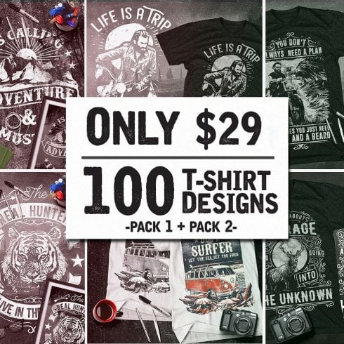 100 T-Shirt Design Bundle Mega Collection - $19 - 600 12 490x490