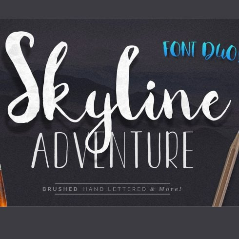 Font Duo Skyline Adventure Brushed + Vector Elements - $10 - 601 1 490x490
