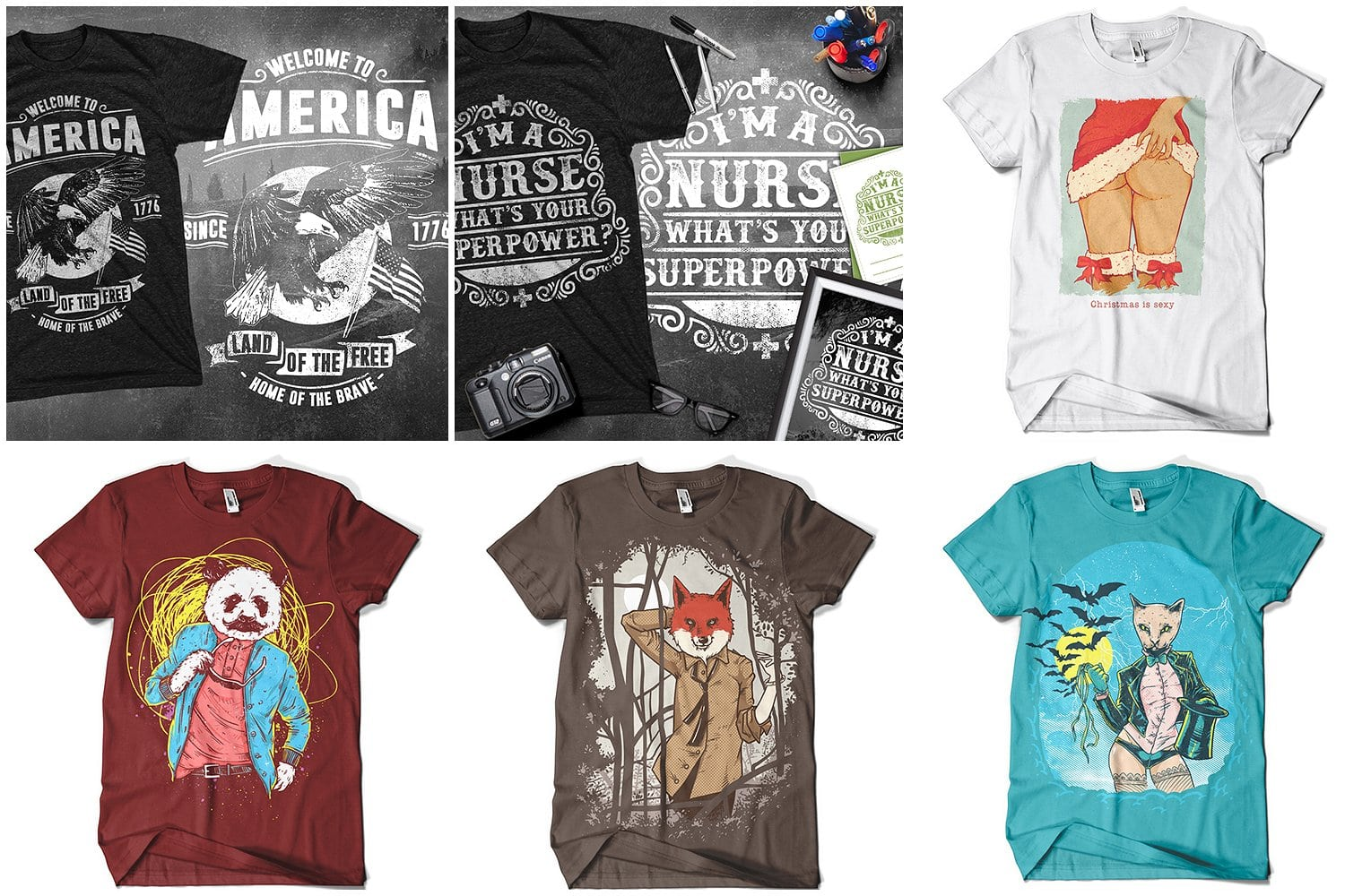 Different t-shirts with different themes and pictures.