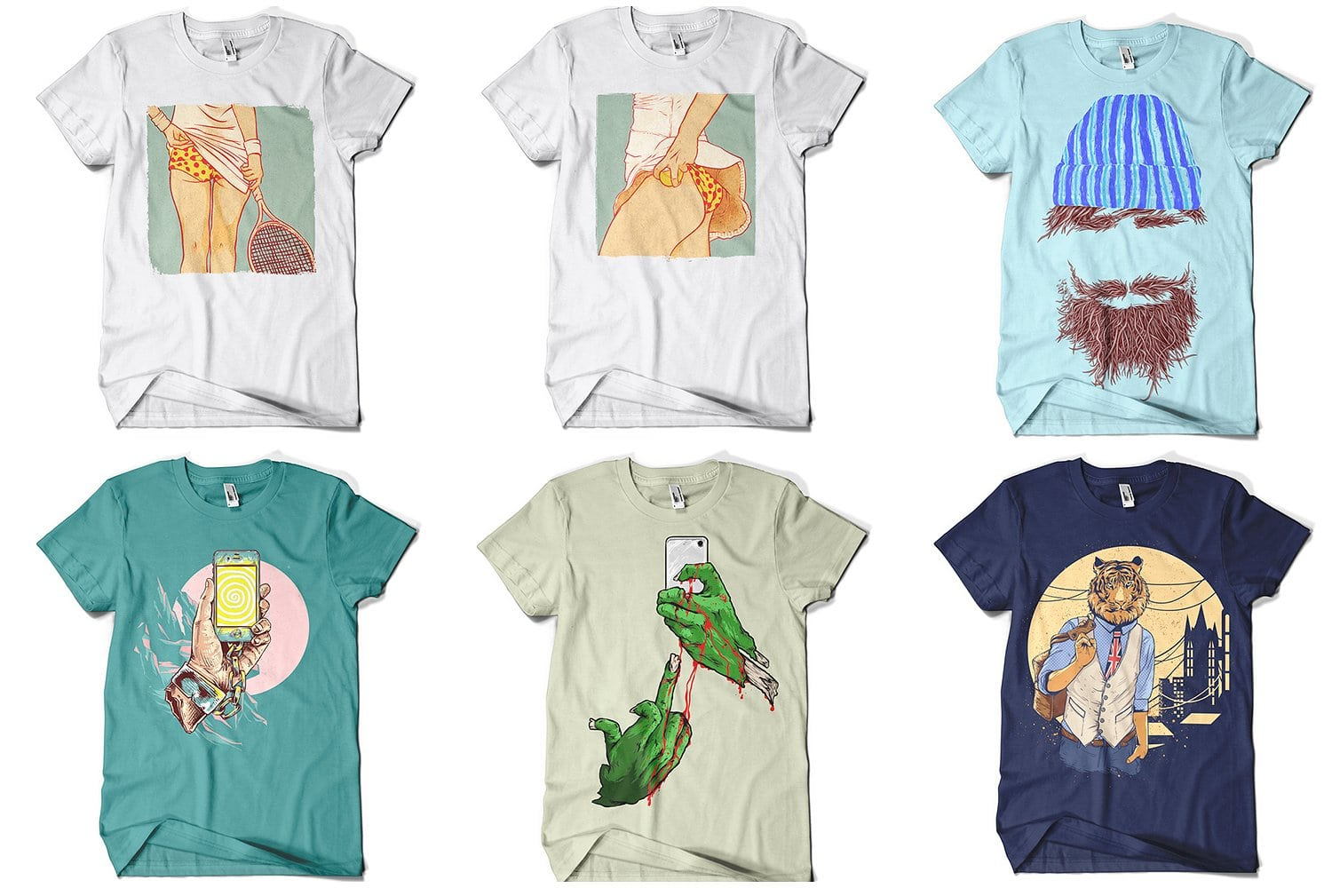 White t-shirts with unusual pictures on it.
