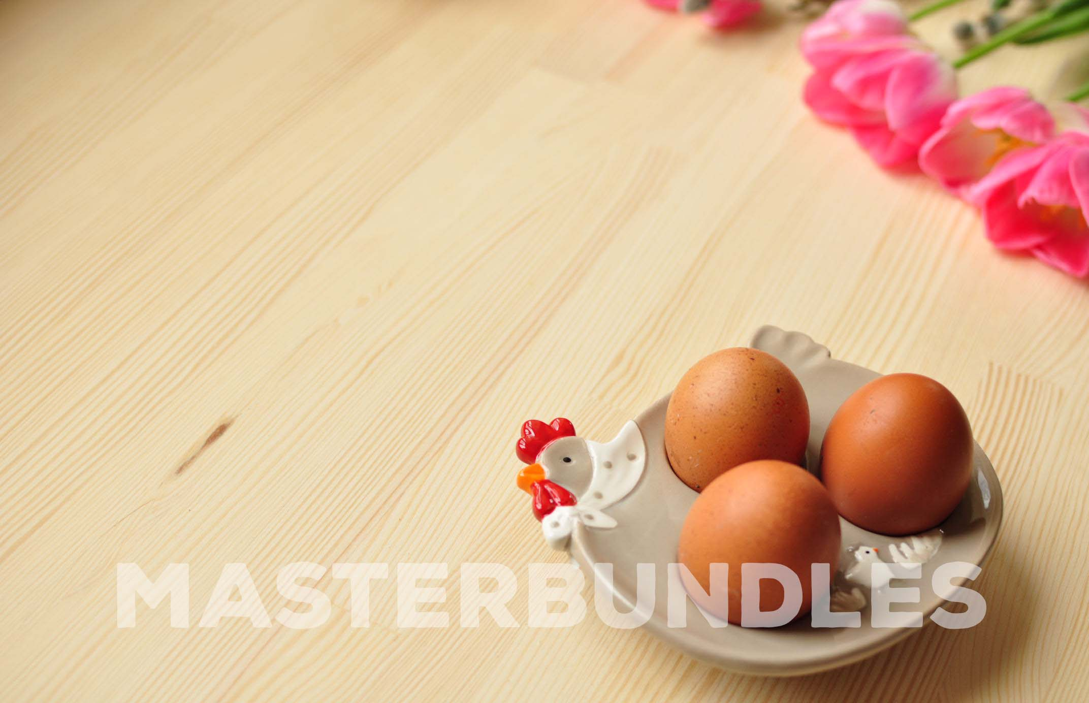 Three chicken eggs on a special stand.