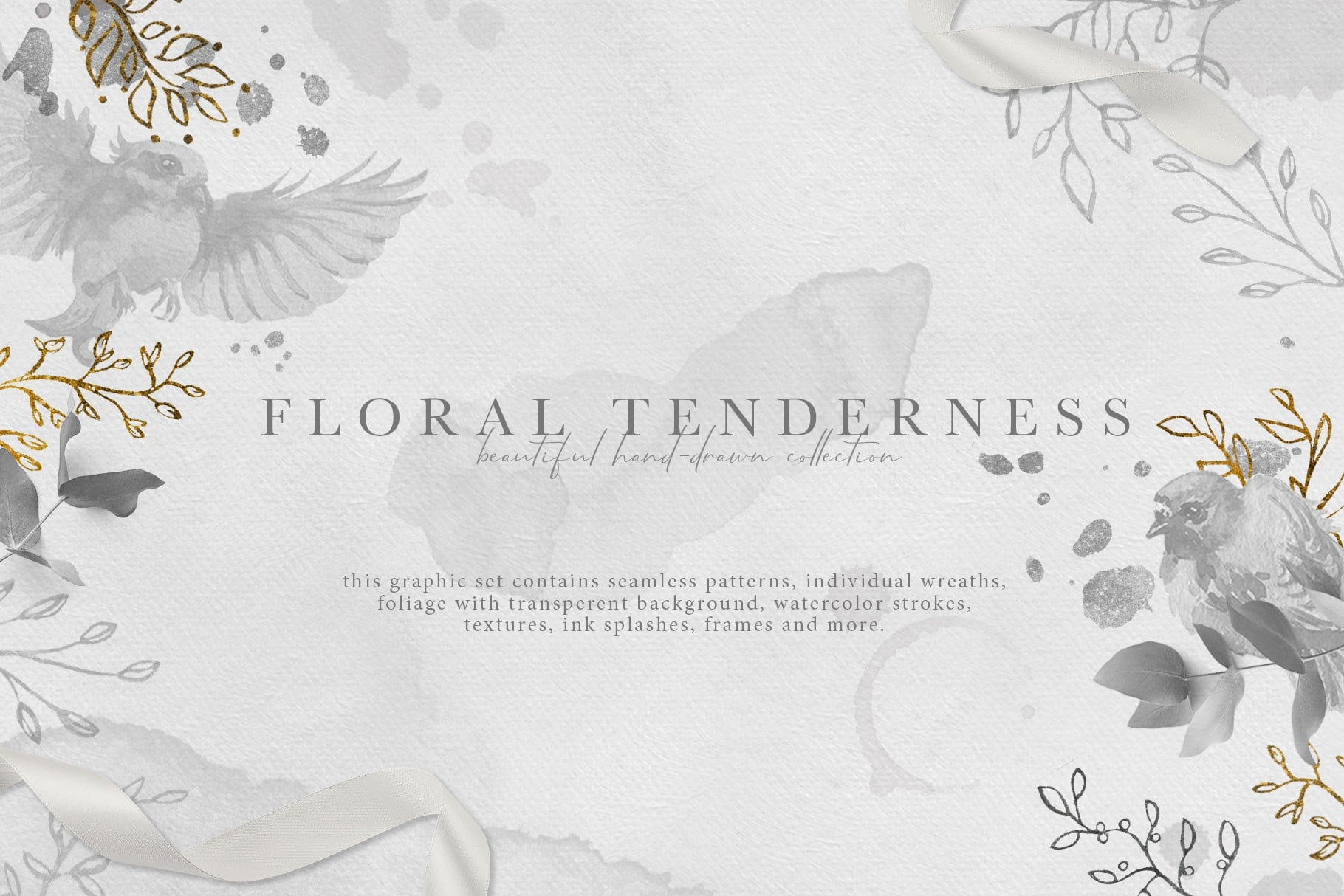 Floral Tenderness: hand-drawn floral elements