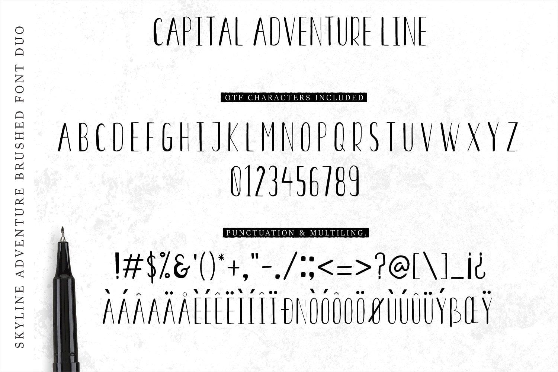 Font Duo Skyline Adventure Brushed + Vector Elements