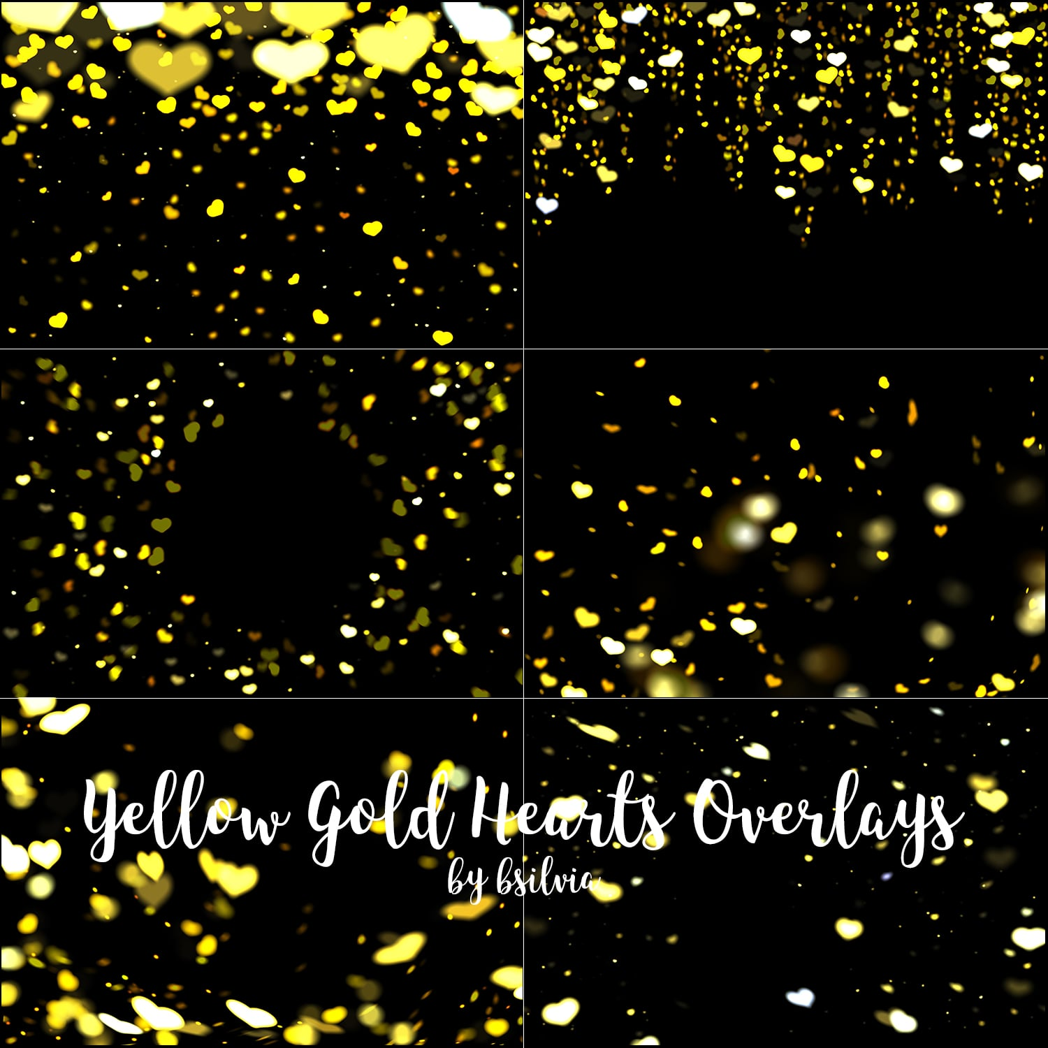 Yellow Gold Hearts Bokeh Overlays
