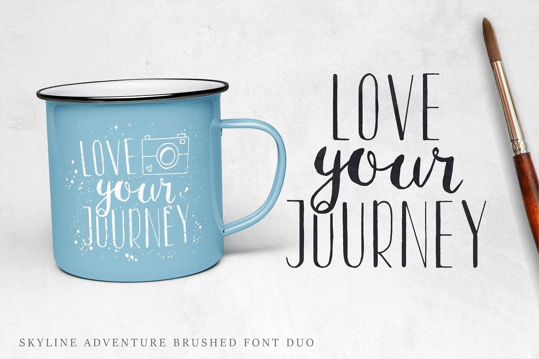 Font Duo Skyline Adventure Brushed + Vector Elements - $10 - hugging hippo image build