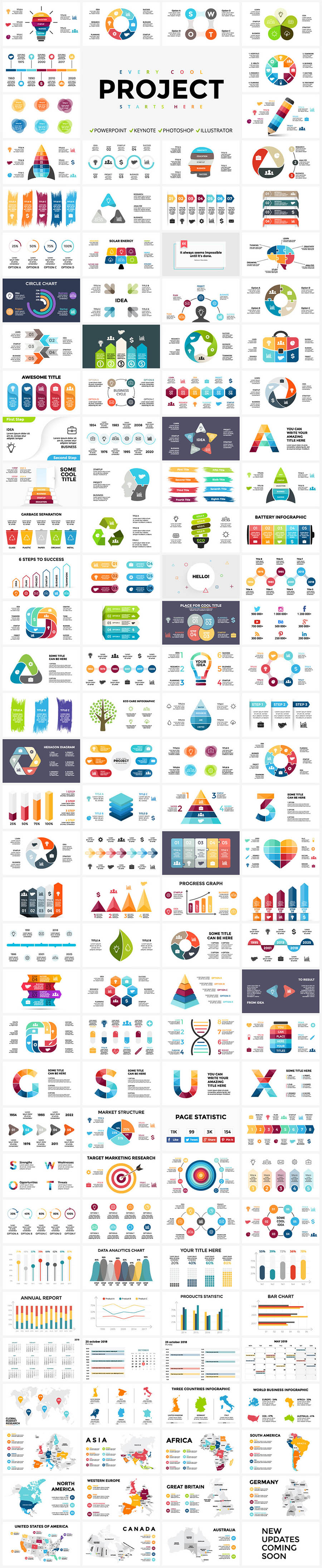 Infographics are a part of modern life and sometimes art. Bright colors, pertinent elements and original shapes.