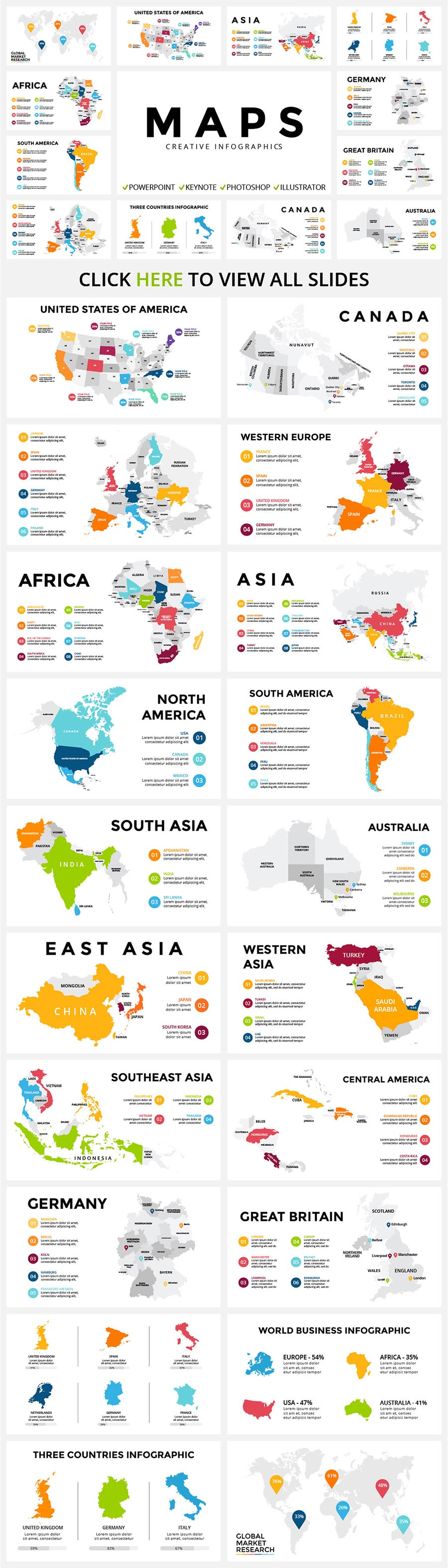 20 Map Infographics | Ppt Key Psd Ai - $20 - 08 MAPS