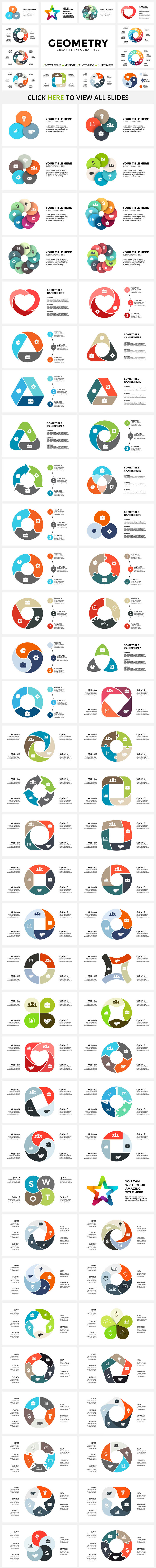 Infographics for lovers of geometric shapes. This stylish addition will add variety to your presentation.