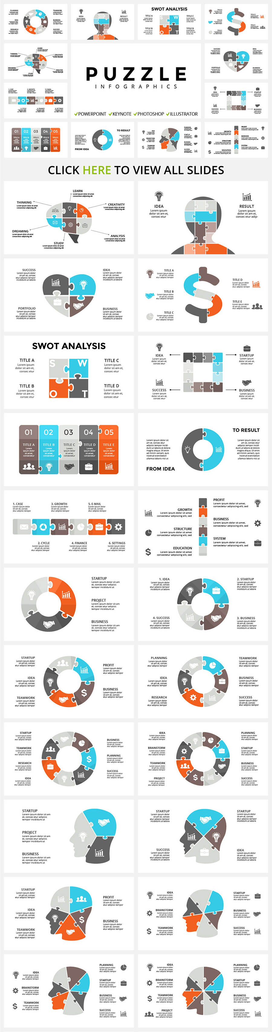 Puzzle style infographics where every piece will help you put together the perfect presentation picture.