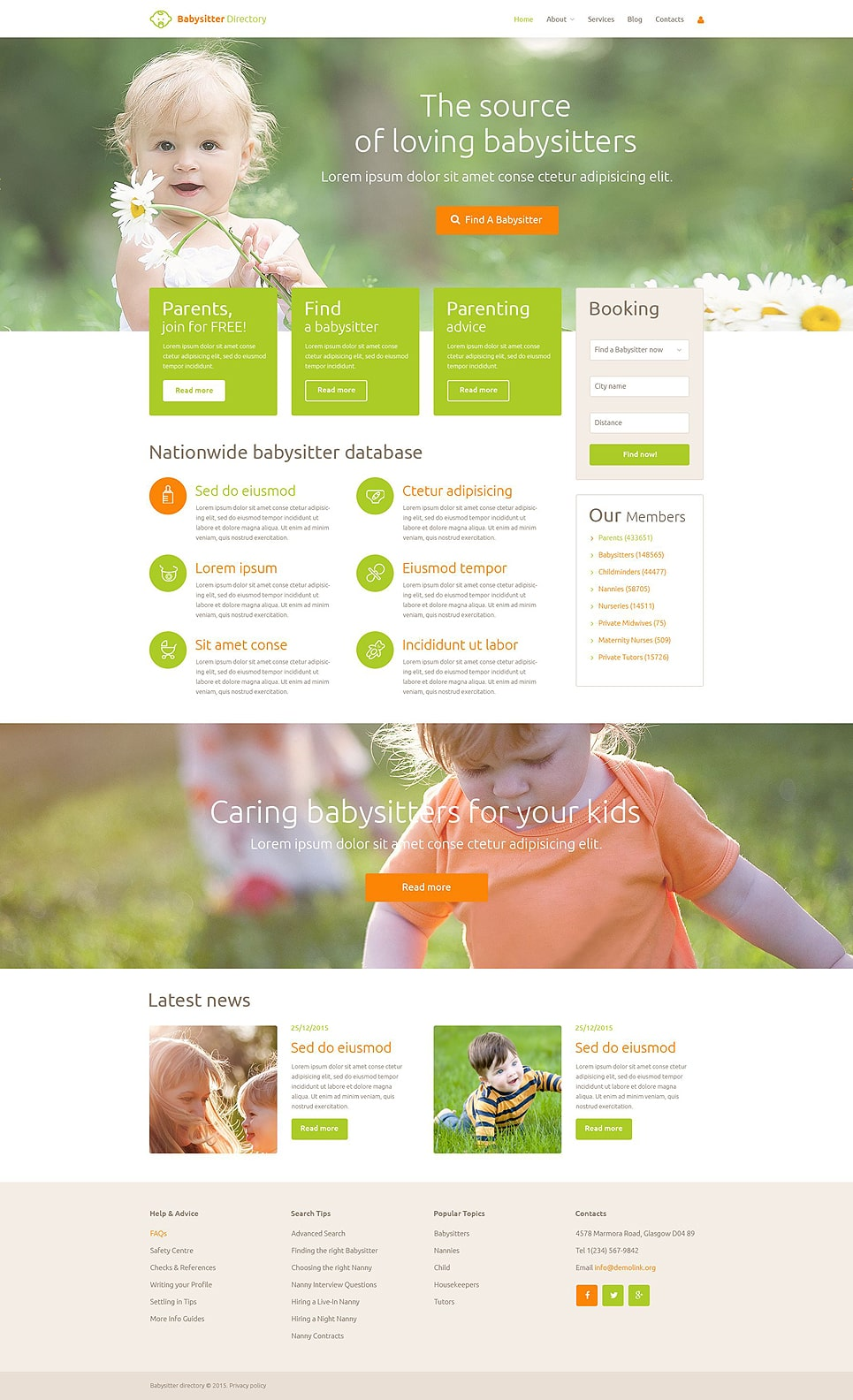 Babysitter Directory PSD Template