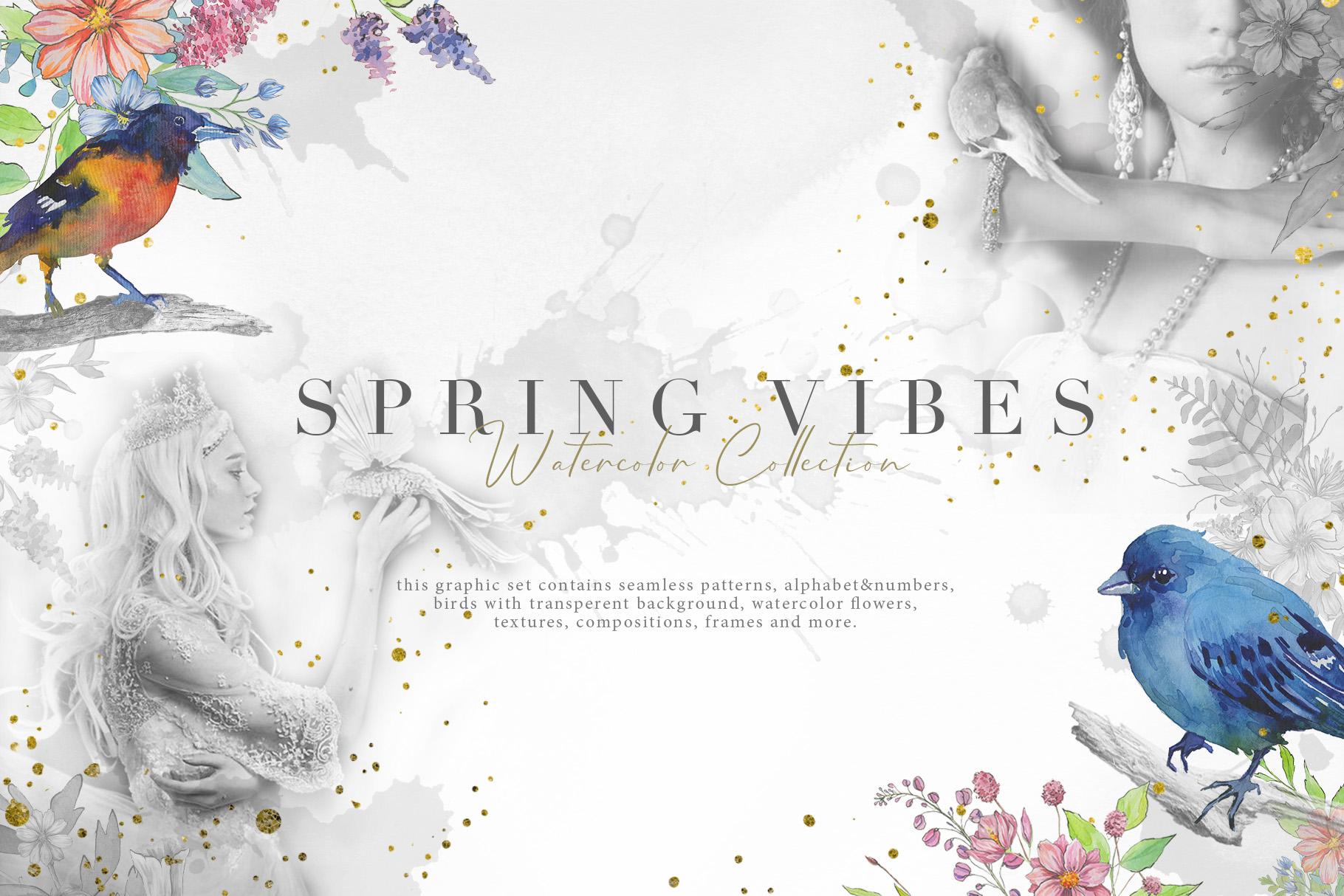 Spring Vibes: Hand-drawn Floral Elements - $17 - Prev1
