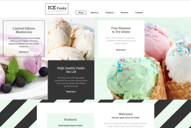 Ice Cream Template Website Template