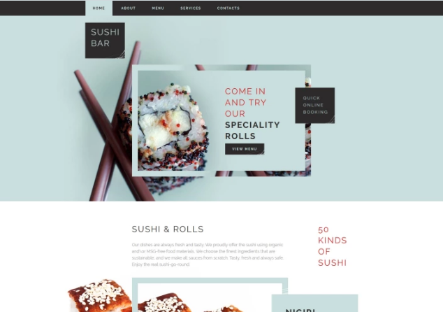 Sushi Bar Template Website Template
