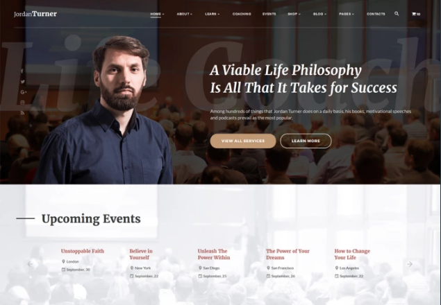 Jordan Turner - Life Coach Website Template