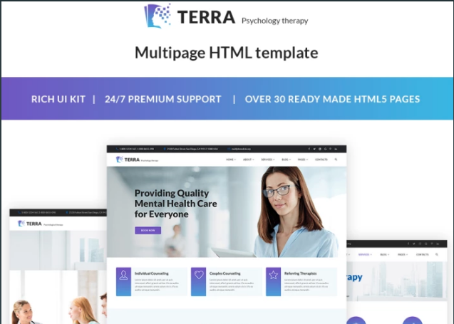 Terra - Psychologist Responsive Website Template