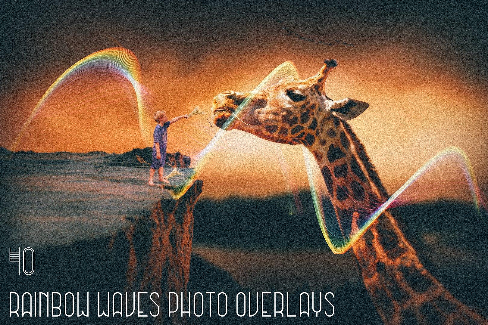40 Rainbow Waves Photo Overlays - $9 - main image