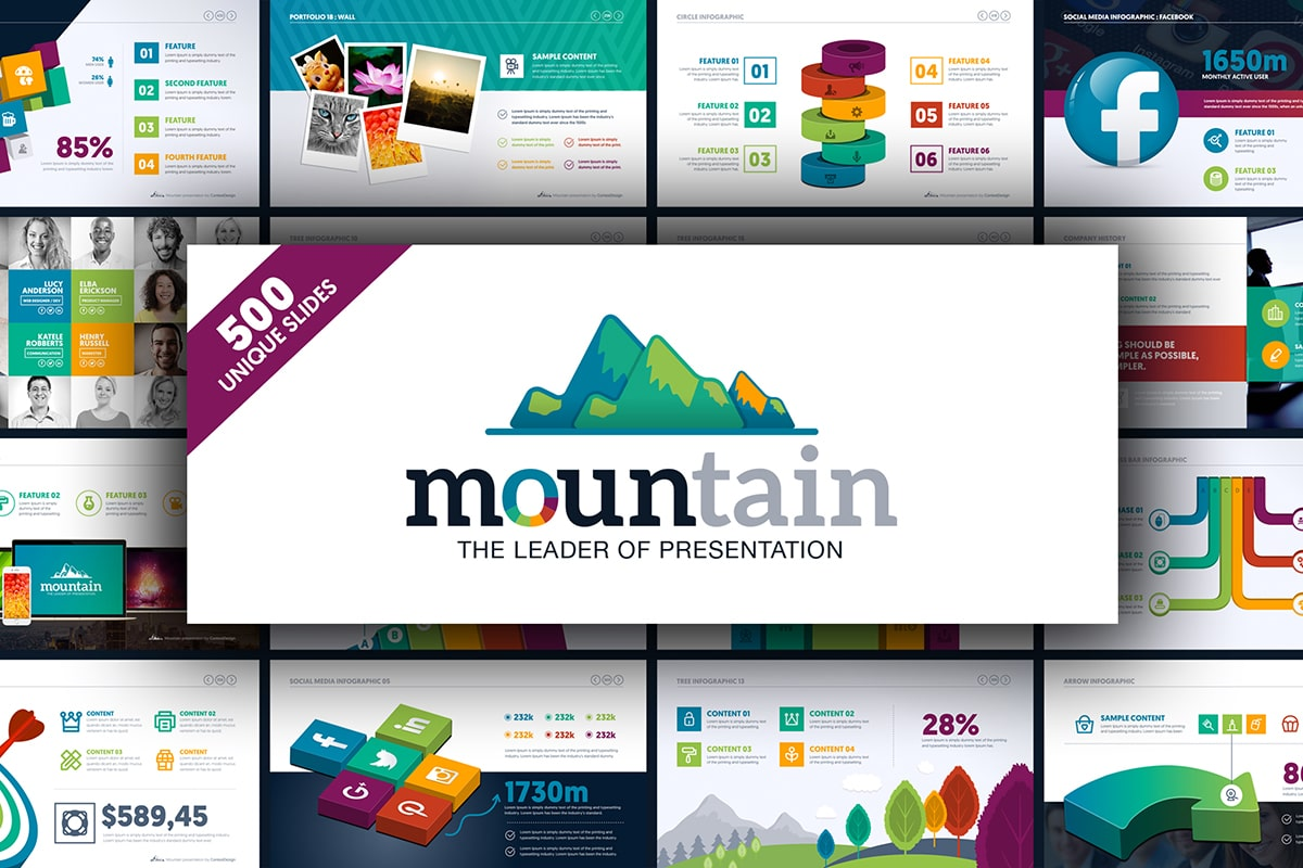 20 Premium PowerPoint and Keynote Templates - 02 Mountain The leader of powerpoint presentation project infographic business ppt pptx animated powerpoint presentation design template free download min