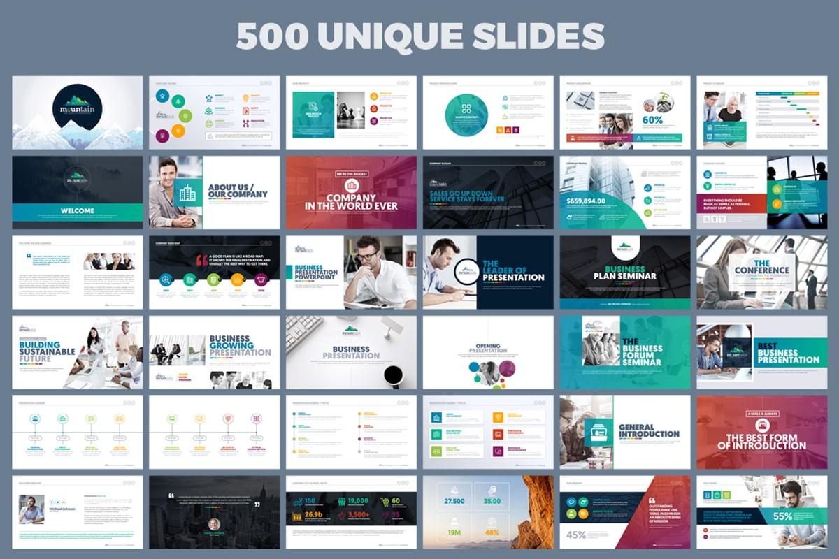 20 Premium PowerPoint and Keynote Templates - 03 500 Unique Slides Powerpoint presentation template min