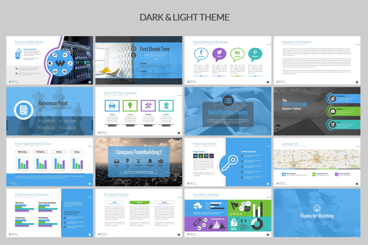 20 Premium PowerPoint and Keynote Templates - 04 Dark and Light Background PowerPoint