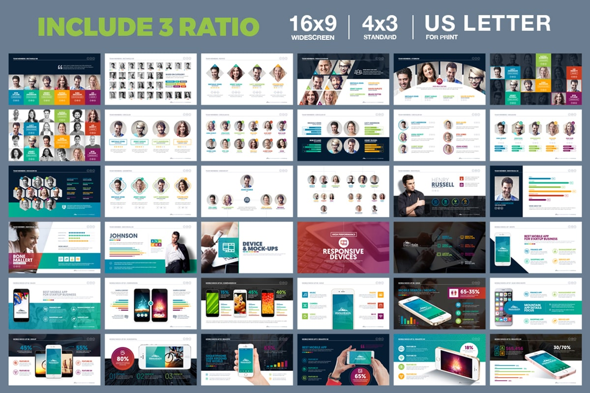 20 Premium PowerPoint and Keynote Templates - 05 3 Ration 16x9 4x3 us letter powerpoint presentation template min