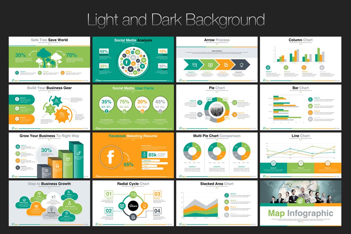 20 Premium PowerPoint and Keynote Templates - 05 Light and dark background version presentation