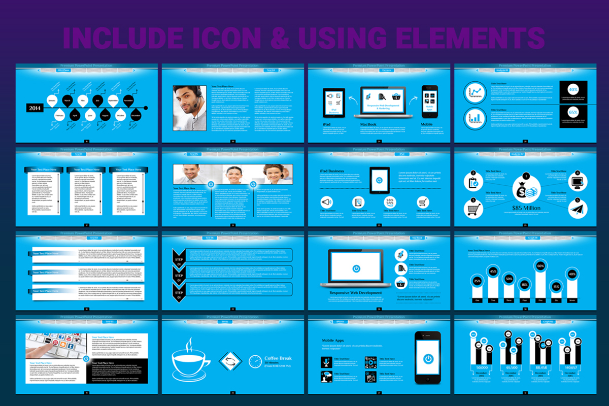 20 Premium PowerPoint and Keynote Templates - 06 Icon and elements presentation powerpoint background