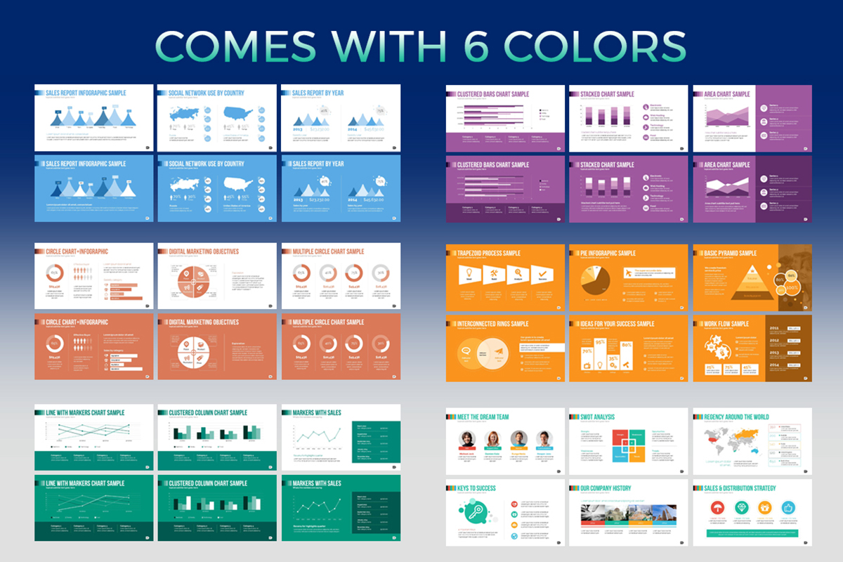 20 Premium PowerPoint and Keynote Templates - 06 Six Color variation
