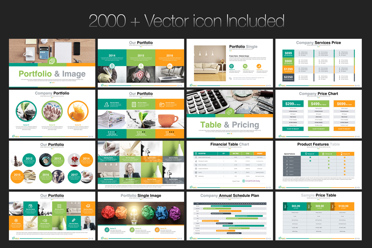 20 Premium PowerPoint and Keynote Templates - 08 2000 Vector Icon included