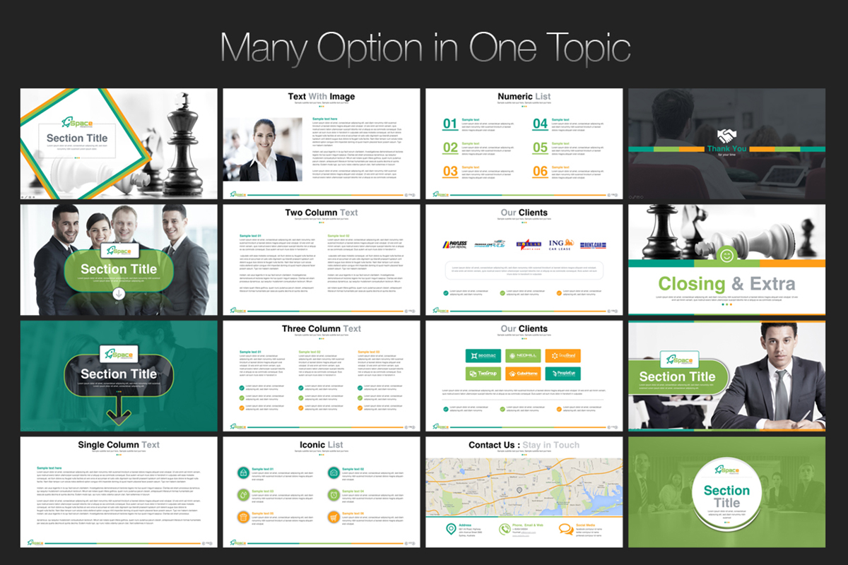 20 Premium PowerPoint and Keynote Templates - 09 Many option in one topic